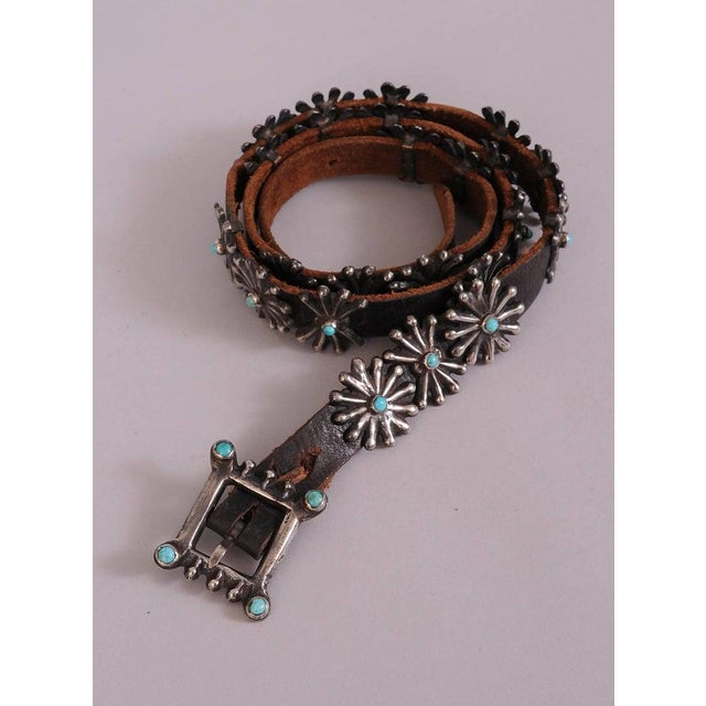 Black Native American Silver and Turquoise Concho Belt With Original Leather Strap For Sale - Image 8 of 8