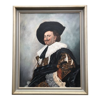 """Mid Century """"Laughing Cavalier"""" Portrait Painting, Signed Lowell For Sale"""