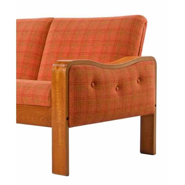Mid-Century Modern Vintage Original Scandinavian Bent Teak Plaid Wool Upholstered Sofa Couch, 1970s For Sale - Image 3 of 7