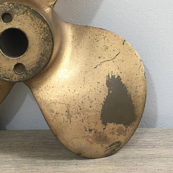 Large Vintage Brass Boat Propeller For Sale In Chicago - Image 6 of 11