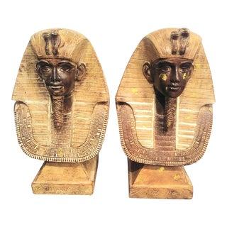 King Tut Large Ceramic Bust Hieroglyphics Statues - a Pair For Sale