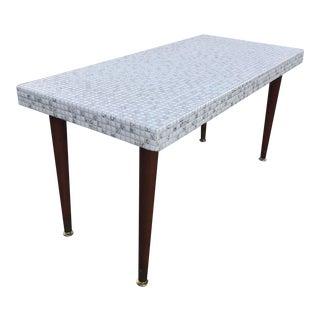 Mid-Century Mosaic Tile Coffee Table Tapered Legs