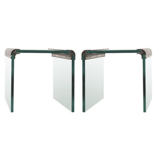 Pace Chrome & Glass Waterfall Side Tables - Pair