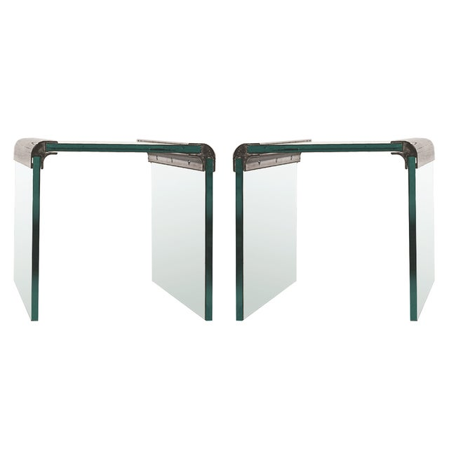 Pace Chrome & Glass Waterfall Side Tables - Pair - Image 1 of 10