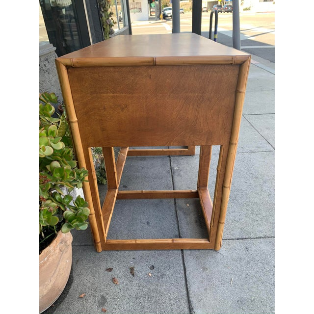 Mid 20th Century Mid-Century Vintage Bamboo Trimmed Desk For Sale - Image 5 of 11