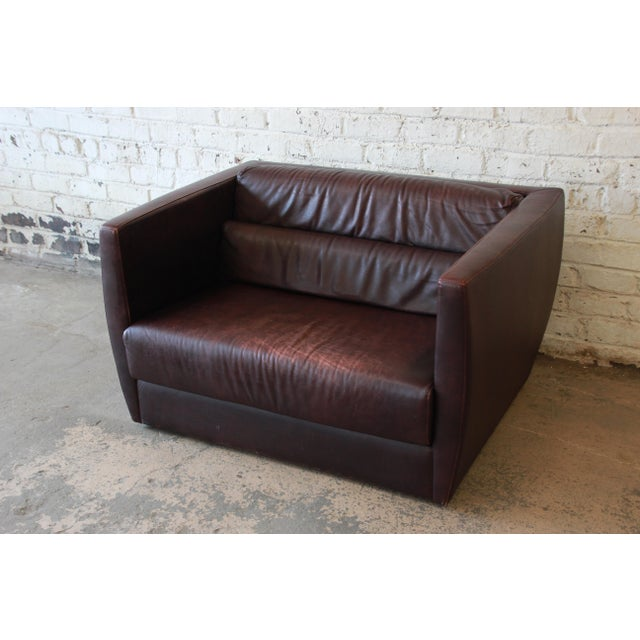 Roche Bobois Bauhaus Style Leather Loveseat or Cube Chair, 1970s For Sale - Image 12 of 12
