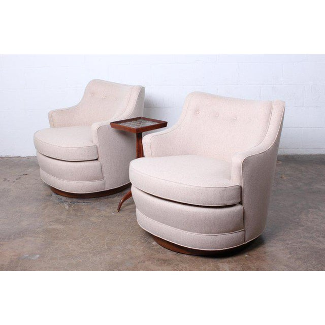 Pair of Dunbar Swivel Chairs by Edward Wormley For Sale - Image 9 of 11