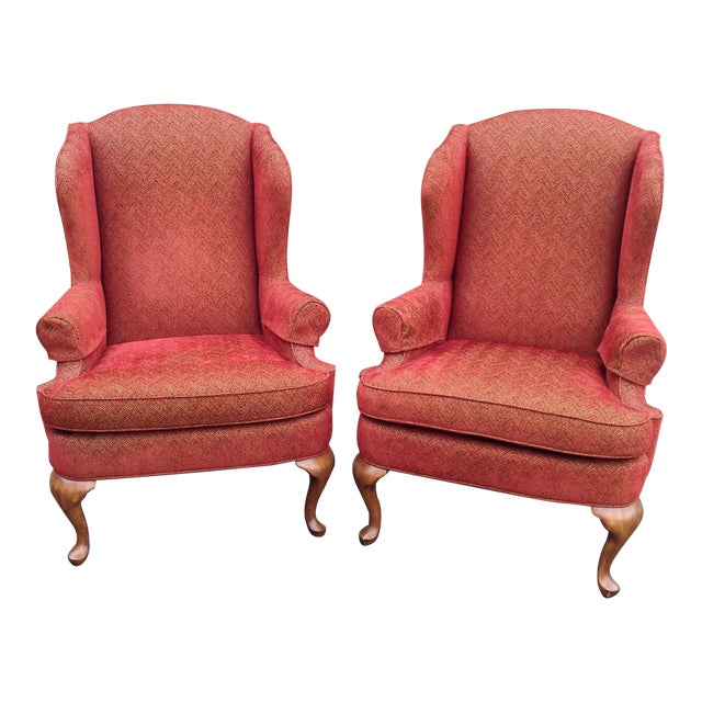 Walter E. Smithe Wingback Chairs - Pair For Sale