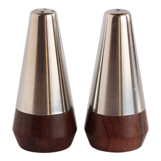 A & B Lundtofte Stainless & Rosewood Salt and Pepper Shakers For Sale