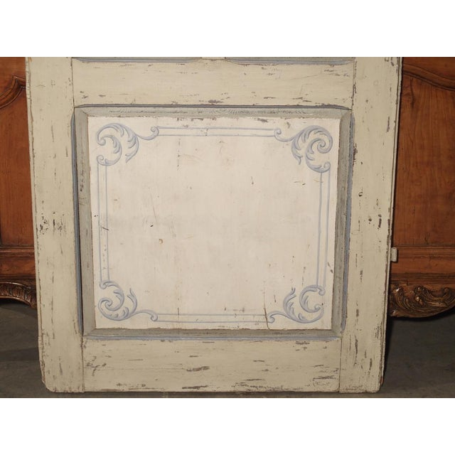 Neoclassical Blue and White Painted Antique Door From Lombardy, Italy Circa 1850 For Sale - Image 3 of 13