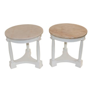 Hollywood Regency Side Tables in White Lacquer With Pink Marble: Tops 1940s - a Pair For Sale
