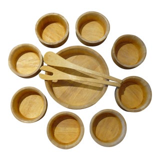 Dansk International Blond Wood Vintage Salad Set - 11 Pieces For Sale