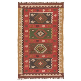 Jaipur Living Amman Handmade Geometric Red/ Gold Area Rug - 5′ × 8′ For Sale