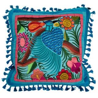 Modern Guatemalan Bird Embroidered Pillow For Sale