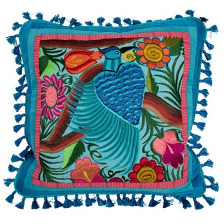 One-Of-A-Kind Pillow With Blue Guatemalan Bird and Flower Embroidery