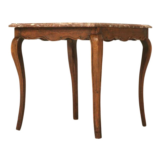 18th Century Antique French Louis XV Marble Top Cherry Side Table For Sale