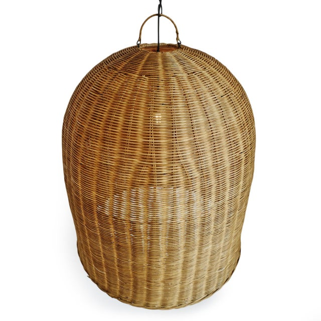 Tea Stain Wicker Dome Lantern For Sale - Image 4 of 6