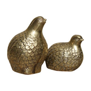 Vintage Brass Partridges, A Pair For Sale