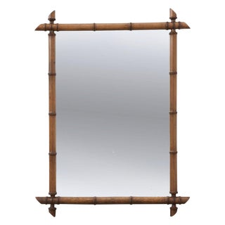 French 19th Century Carved Faux Bamboo Mirror For Sale