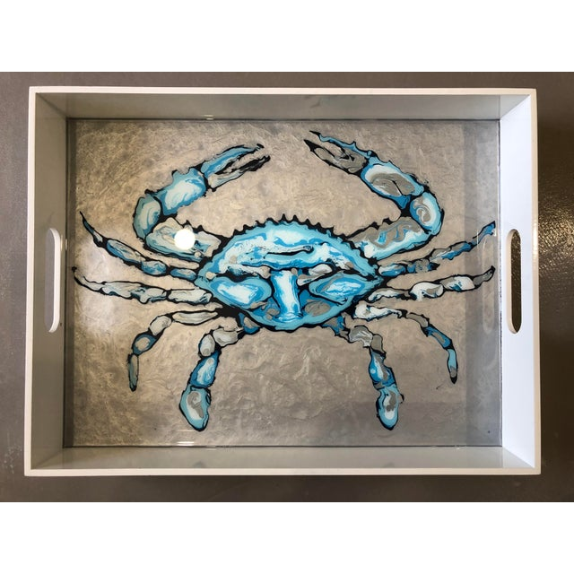 Abstract Large Blue Crab Tray by Blue Moon Art For Sale - Image 3 of 3