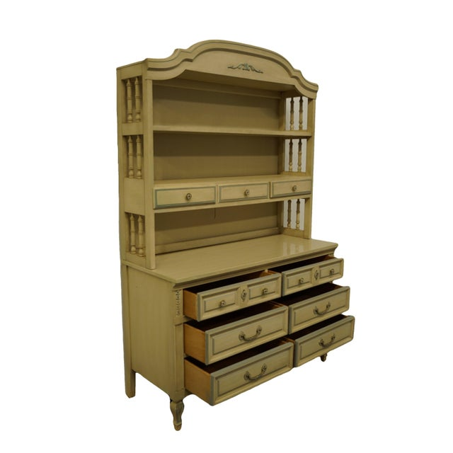 Dixie French Provincial Dixie Furniture Cream Painted Double Dresser with Bookcase Hutch For Sale - Image 4 of 11