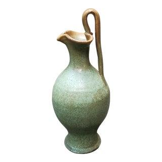 Mid 20th Century a.r. Cole North Carolina Redware Green Rebecca Pitcher For Sale