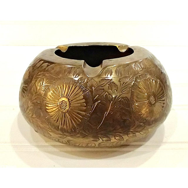 Vintage Indian Asian Chased Brass Ashtray This is a bowl shaped solid brass ashtray that was handmade in India and...
