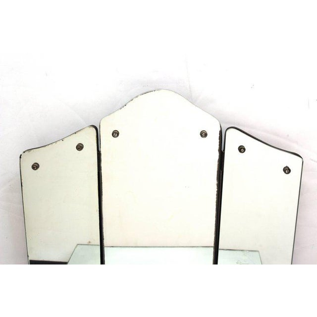 1930s Art Deco Antique Mirrored Surface and Trifold Mirror Vanity For Sale - Image 4 of 10
