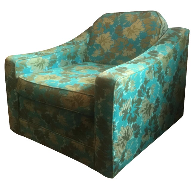 Mid-Century Green Floral Lounge Chair - Image 1 of 7