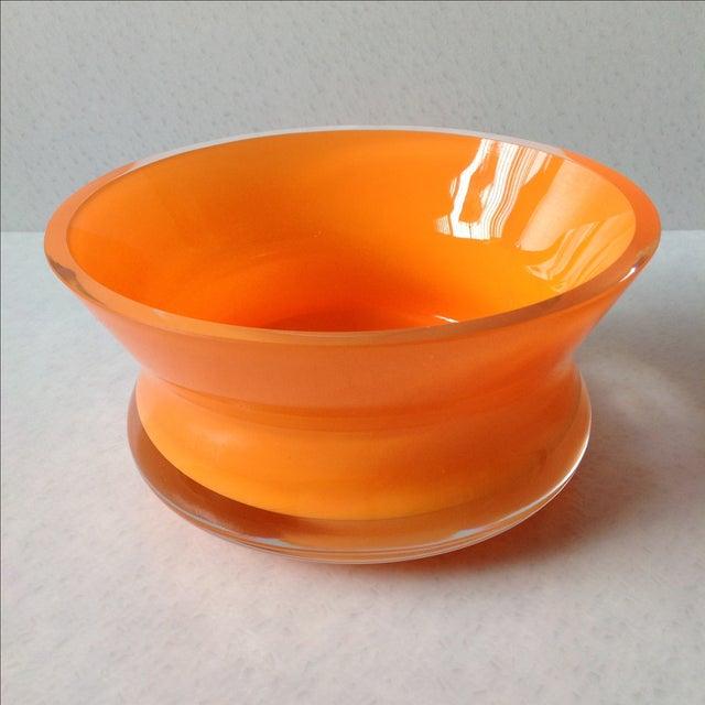 Bright Orange Czech Glass Console Bowl - Image 2 of 5