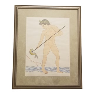 Greek Fisher Boy Framed Drawing For Sale