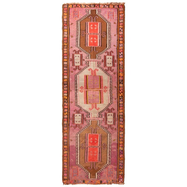 Brown Antique Kurdish Pink and Brown Wool Kilim With Mihrab Pattern - 5′1″ × 14′9″ For Sale - Image 8 of 8