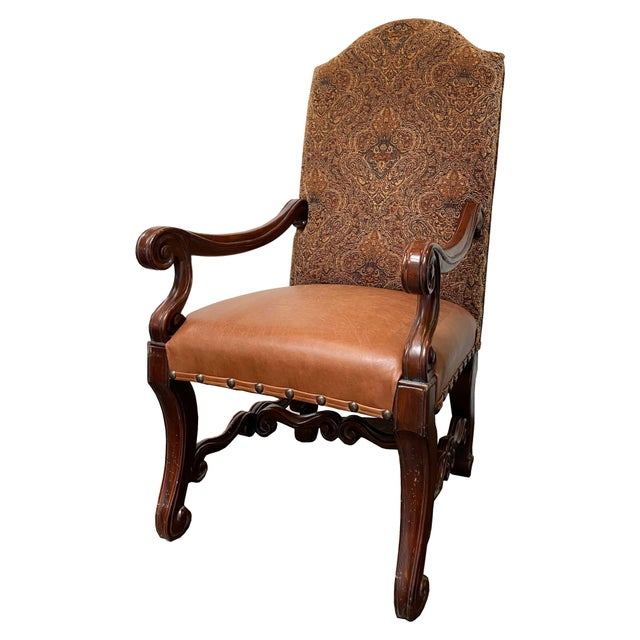 A set of six Louis XV style French dining chairs with cabriole legs and carved decoration. Sturdy oak frames with high...
