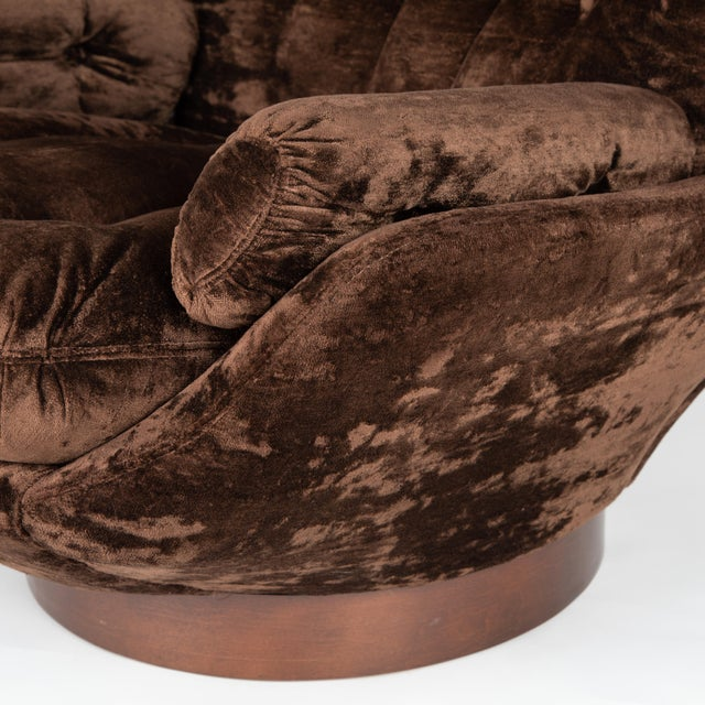 1970's Vintage Selig Brown Lounge Chair & Ottoman For Sale - Image 9 of 13