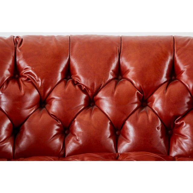 Metal Midcentury English Chesterfield Style Kidney Bean Leather Settee For Sale - Image 7 of 13