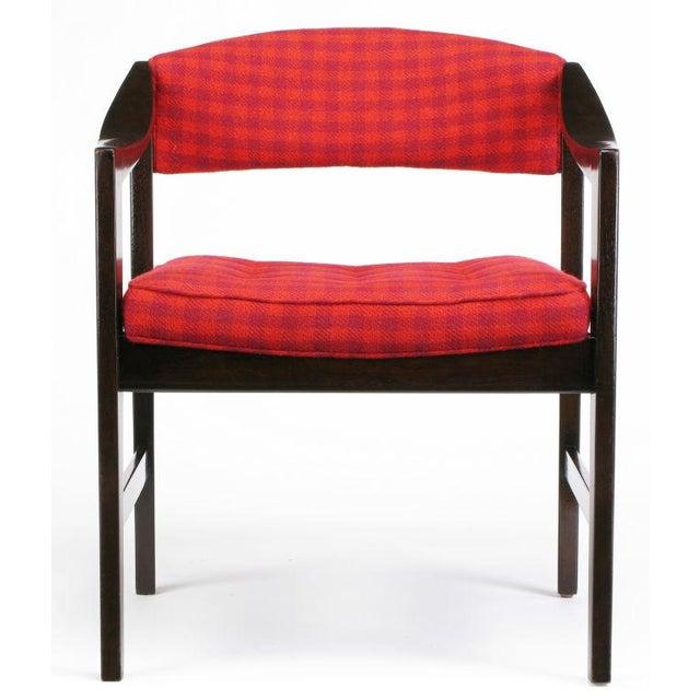 Mid-Century Modern Dunbar Walnut & Crimson Check Upholstered Arm Chair For Sale - Image 3 of 10