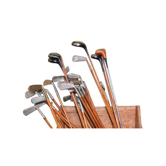 Collection of 40 vintage golf clubs with wooden shaft. Very decorative, club house. Confirm measurements.