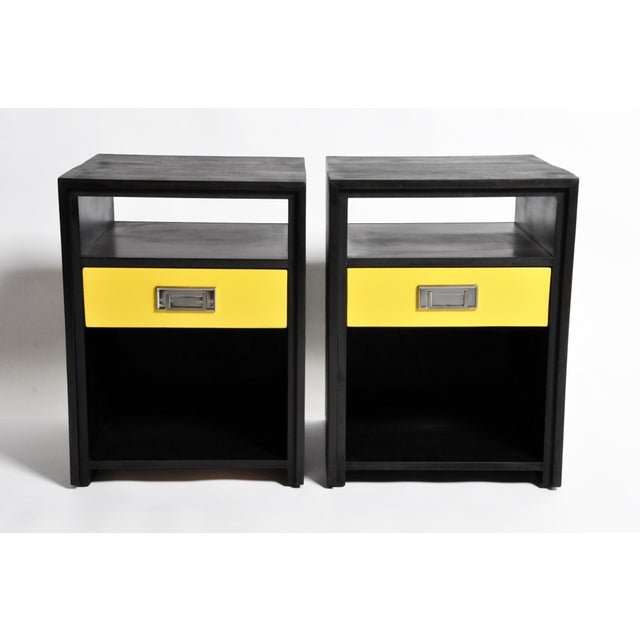2010s Gtc2 Pair of Campaign Bedside Chests by the Golden Triangle Chicago For Sale - Image 5 of 13