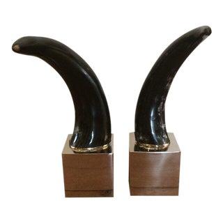 Faux Black Horns on Modern Chrome Cubes - a Pair For Sale