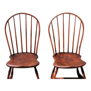 Pair of 18th Century Old Surface Windsor Chairs from New England For Sale