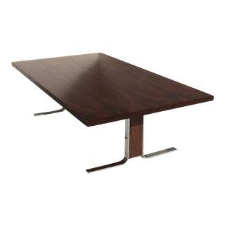 Rosewood and Chrome Coffee Table Attributed to Milo Baughman For Sale