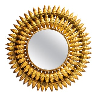 French Gilt Metal Sunburst Mirror For Sale