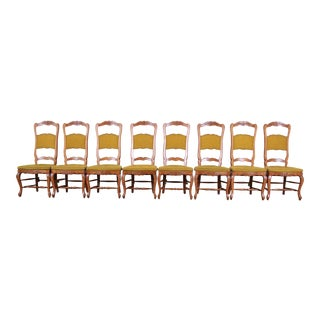 Baker Furniture French Country High Back Dining Chairs - Set of 8 For Sale