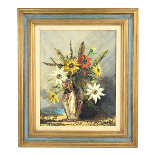 Vintage Mid-Century Modern Still Life Vase of Flowers Oil Painting For Sale
