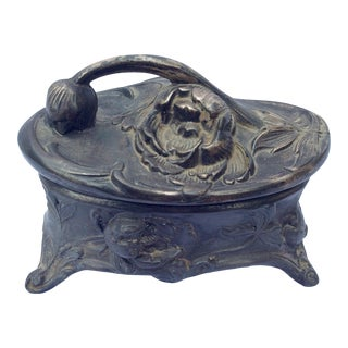 Early 20th Century Pewter Art Nouveau Jewelry Box For Sale