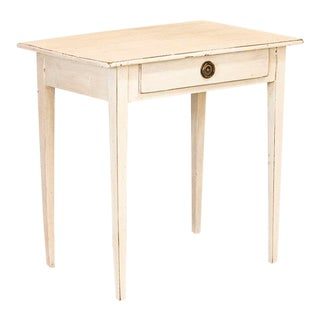 Antique White Painted Gustavian Side Table With Single Drawer For Sale