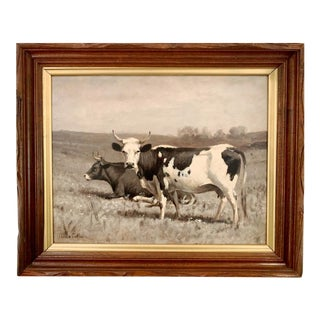 """""""Cows"""" Oil Painting on Canvas by Thomas Craig (American, 1849-1924) For Sale"""