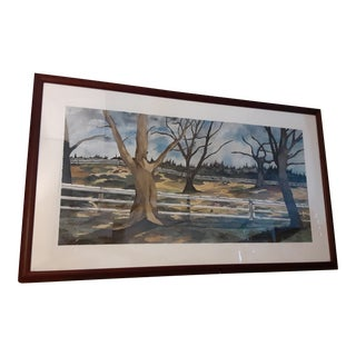 1990s Large Bucolic Contemporary Watercolor Painting For Sale