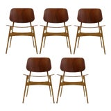 Image of Set of 5 Børge Mogensen Dining Chairs, 1950s For Sale