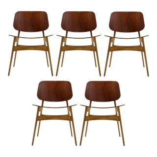 Set of 5 Børge Mogensen Dining Chairs, 1950s For Sale